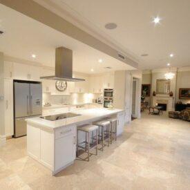Sleek Transitional Kitchen with Travertine Tile Floor Devon Extension & Renovation